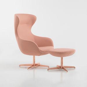 sillón contemporáneo / de terciopelo / de metal cromado / de metal pulido