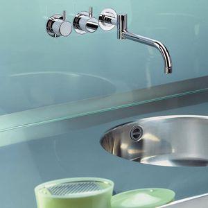 grifo mezclador para lavabo / empotrable / de acero inoxidable / para cocina