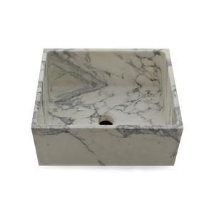 fregadero de 1 cubeta / de mármol / sobre encimera / cuadrado