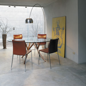 mesa contemporánea / de wengué / de vidrio / de acero