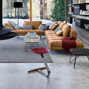 taburete de diseño original / de haya / de acero cromado / de Achille Castiglioni