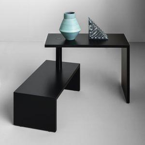 mesa de centro contemporánea / de MDF lacado / de acero / con base de MDF lacada