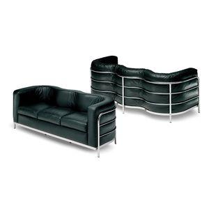 sofá contemporáneo / de tejido / de cuero / de acero inoxidable