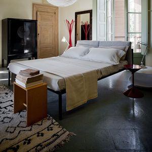 cama de matrimonio / contemporánea / con cabecero tapizado / de tejido