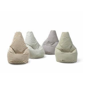 sillón pera de diseño original / de tejido / de cuero / con revestimiento removible