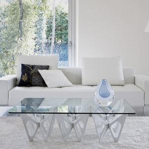 mesa de centro de diseño original / de roble / de contrachapado / de vidrio templado