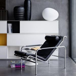 sillón contemporáneo / de cuero / de acero / de poliuretano