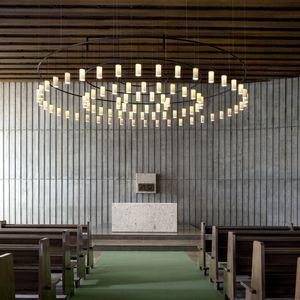 lámpara suspendida / de diseño industrial / de latón / de vidrio