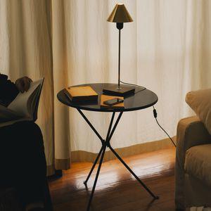 lámpara de mesa / contemporánea / de acero / de latón