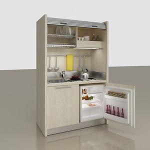 kitchenette compacta / con electrodomésticos incluidos / para estudio / oculta