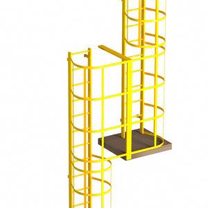 escalera elevada de metal