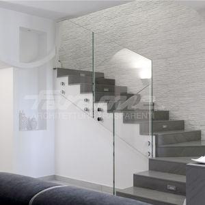 barandilla de vidrio / de acero inoxidable / con paneles de vidrio / de interior