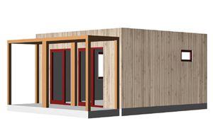 casa prefabricada / temporal / contemporánea / con armazón de madera