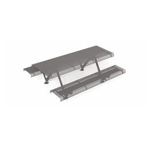 conjunto de mesa y banco contemporáneo / de acero / de jardín / de exterior