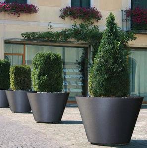jardinera de acero inoxidable / redonda / contemporánea / para espacio público