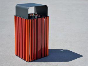 cubo de basura público / de acero inoxidable / de madera / contemporáneo