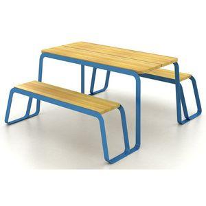mesa de pícnic contemporánea / de madera maciza / de acero pintado / rectangular
