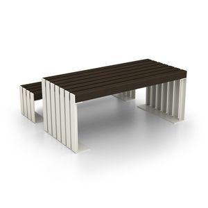 mesa contemporánea / de acero / con base de acero galvanizado / rectangular