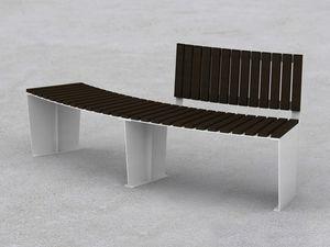 banco público / contemporáneo / de madera / de acero