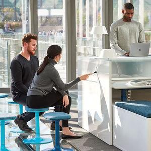 taburete de oficina de tejido / de metal / para el sector servicios / azul