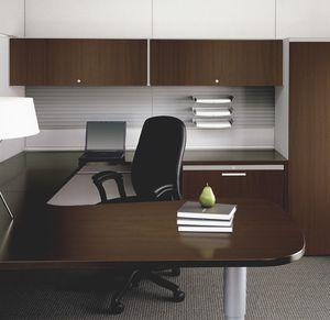sillón de oficina contemporáneo / de cuero / con ruedas / ajustable