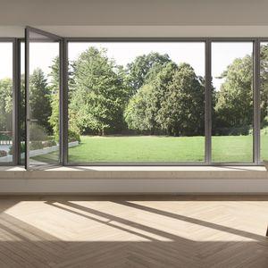 ventana abatible / de PVC / de aluminio / con vidrio doble
