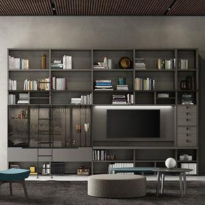 mueble TV contemporáneo / de madera lacada / de roble / de vidrio
