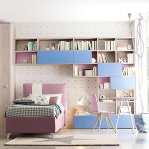 habitación para niños azul / violeta / de madera lacada / unisex