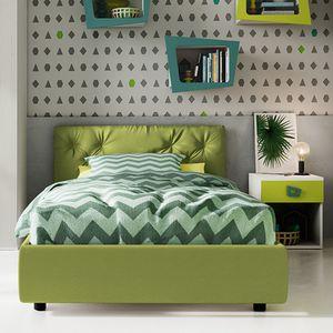 cama individual / contemporánea / tapizada / con cabecero tapizado