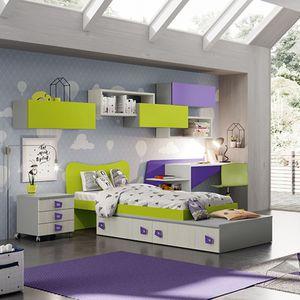 habitación para niños verde / violeta / de madera lacada / unisex