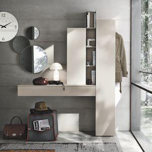 mueble de entrada contemporáneo / mural / de madera lacada / con espejo