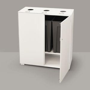 cubo de basura empotrable / de acero / de vidrio / para el sector servicios