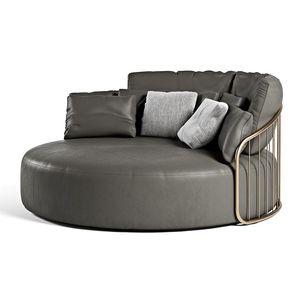 sofá redondo / contemporáneo / de cuero / de metal