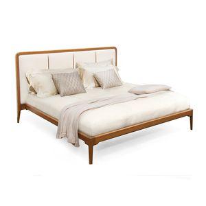 cama de matrimonio / contemporánea / con cabecero de piel / de madera de frondosa