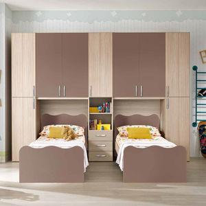 habitación para niños gris / marrón / de madera lacada / de olmo
