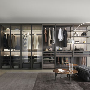 vestidor de esquina / modular / contemporáneo / de madera lacada mate