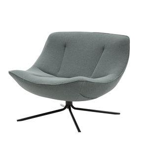 sillón bajo contemporáneo / de tejido / de metal cromado / giratorio