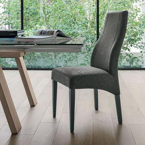 silla vintage / tapizada / de madera / gris