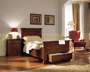 cama individual / de estilo / con cajones / de madera