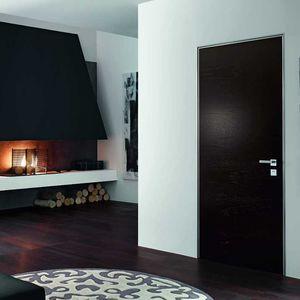 puerta de interior / abatible / de madera / con vidrio de seguridad