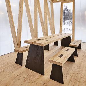 conjunto de mesa y banco contemporáneo