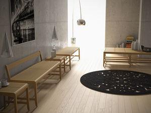 banco de jardín / contemporáneo / de madera / con respaldo