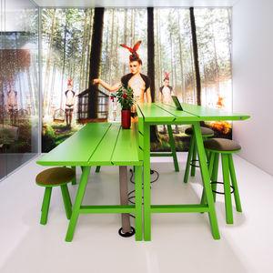 mesa de pícnic contemporánea / de madera / rectangular / para el sector servicios