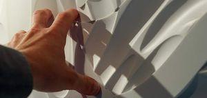 panel decorativo de Corian® / de madera maciza / de pared / 3D
