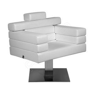 sillón de peluquería de tejido / de cuero / de acero inoxidable / de cuero artificial