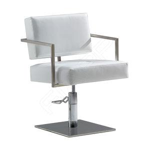 sillón de peluquería de poliuretano / con bomba hidráulica / con base central / blanco