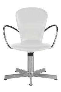sillón de peluquería de metal cromado / con patas en forma de estrella / blanco