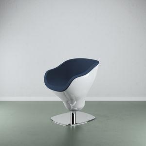 sillón de peluquería contemporáneo / de acero / de cuero artificial / de fibra de vidrio