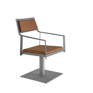 sillón de peluquería contemporáneo / de acero / de cuero artificial / con base central