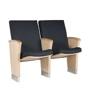 butaca de auditorio contemporáneo / de tejido / de madera maciza / plegable